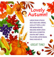 autumn leaf vegetable and fruit poster template vector image vector image