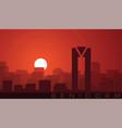 benidorm low sun skyline scene vector image