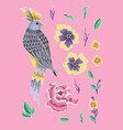 bird and peonies flowers embroidery vector image vector image
