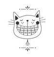 black line cute laughing orthodontics black cat vector image