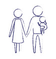 blurred blue silhouette of pictogram parents with vector image vector image