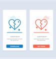 broken love heart wedding blue and red download vector image vector image