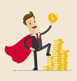 businessman in a red cloak holding golden coin vector image vector image