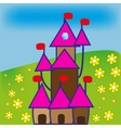 cartoon castle on the green flowered background vector image vector image