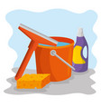 cleaning supplies with bucket sponge detergent vector image vector image