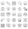 cloud gaming outline icons set - gaming vector image