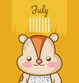 cute squirrel calendar cartoon vector image