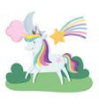 cute unicorn magic fantasy cartoon rainbow vector image vector image