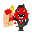 devil showing the contract for your signature vector image vector image