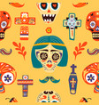 dia de los muertos skulls and crosses seamless vector image vector image