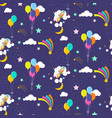 festive star sky with balloons and comets cosmic vector image vector image