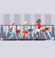 fitness gym people running vector image
