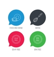 Food and drink whisk and BPA free icons vector image vector image