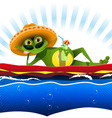 frog on water mattress vector image vector image