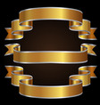 gold silver line ribbon set on black background vector image