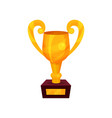 gold trophy cup golden first place prize cartoon vector image vector image