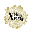 Golden wreath and Xmas greetings vector image vector image