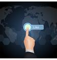 Hand Choose Like on virtual screen vector image vector image