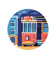 historic red retro tram icon in flat vector image vector image