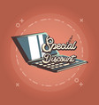 laptop special discount offer retro shopping style vector image vector image