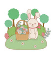 little rabbit with egg painted in basket on the vector image vector image