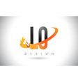 lo l o letter logo with fire flames design and vector image vector image