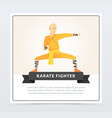 man in orange kimono training karate fighter vector image vector image