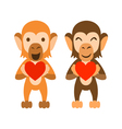 Monkeys holding hearts vector image