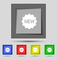 New Icon sign on original five colored buttons vector image