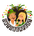 oktoberfest in traditional german bavarian costume vector image