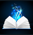 open book with mystic bright light vector image