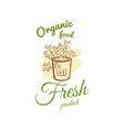 organic food fresh product badge vector image