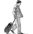 person with suitcase vector image vector image