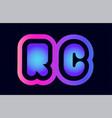 rc r c pink blue gradient alphabet letter logo vector image vector image