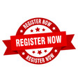 register now ribbon register now round red sign vector image vector image
