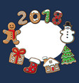 round frame of christmas gingerbread cookies vector image vector image