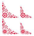 scandinavian floral corner set folk design vector image vector image