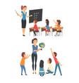 school education set female teachers teaching vector image vector image