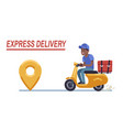 scooter delivery black boy fast courier vector image