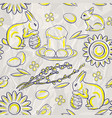 Seamless easter pattern on stylized background of