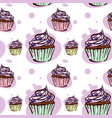 seamless pattern sweet cupcake with berries vector image vector image