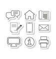 set contacts message sticker icons vector image vector image