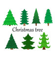 set of 7 christmas trees without decoration vector image