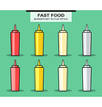 Set of bottles for sauces in flat style vector image