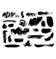 set of bushy different black brushstrokes vector image