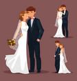 set of isolated married couple wedding vector image vector image
