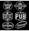 set of vintage cafe pubwine bar and restaurant vector image vector image