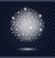 silver snow globewith glowing sparkles and vector image