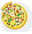 slice of round pizza with sausage vector image vector image