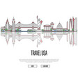 travel tour to usa poster in linear style vector image vector image